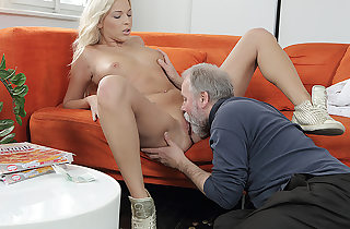 Lucky padre warms his dick inside a..