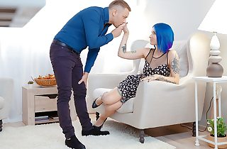 Blue-haired indulge enjoys dick on..